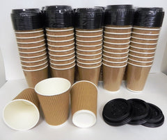 Coffee Tea Paper Cups with Lids Triple Walled Disposable  12 OZ