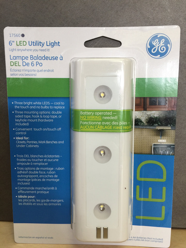 NEW, GE Home Battery Operated 6 Inch Led Utility Light - White