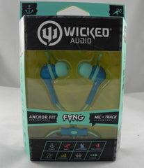 Brand New, Wicked Audio WI-3352 Fang Anchor Fit In-Ear Headphones Blue/Aqua