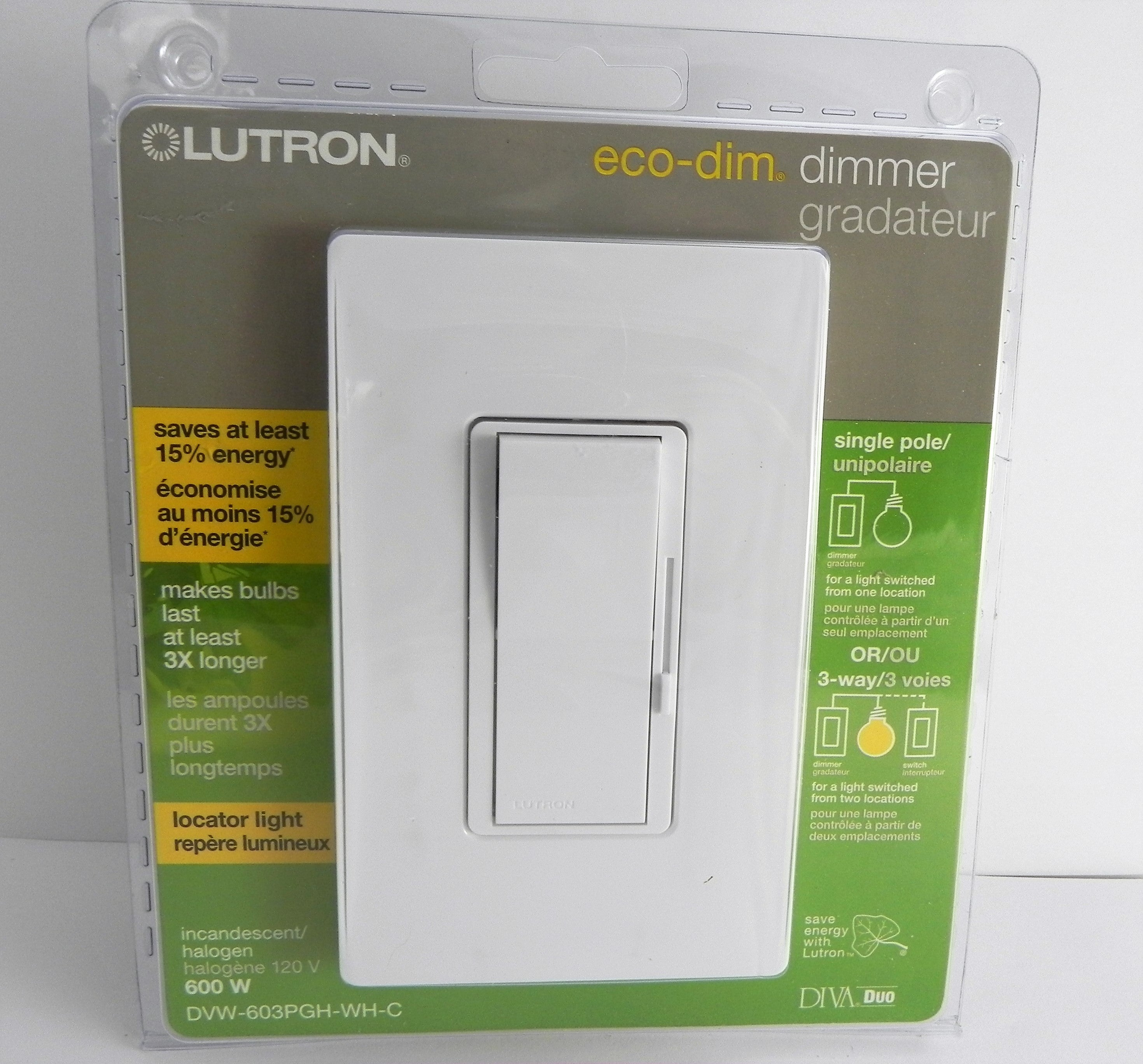 Brand New Sealed, Lutron DVW-603PGH-WH Diva eco-dim 600-Watt Dimmer, White
