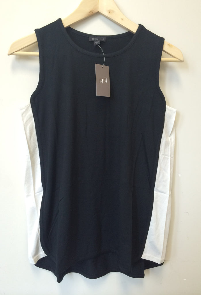 J. Jill Wearever Collection L Black Cream Side Panel Sleeveless Tank Top Size XS
