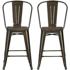 New, Set of 2 DHP Luxor Metal Counter Stool With Wood Seat *PickupOnly - M