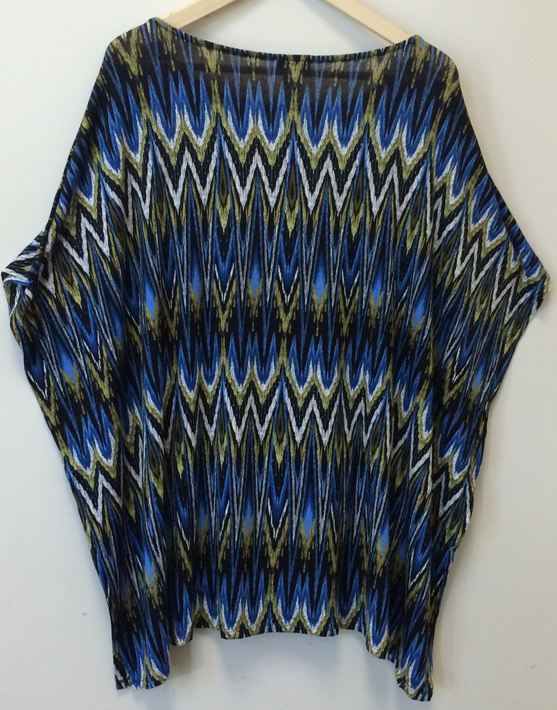J Jill Wearever Collection Rayon Span Multi-Color Chevron Print Top MSRP :$89.00
