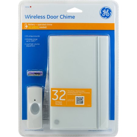 New, GE 19244 Wireless Door Chime with Grey Button, Melody White