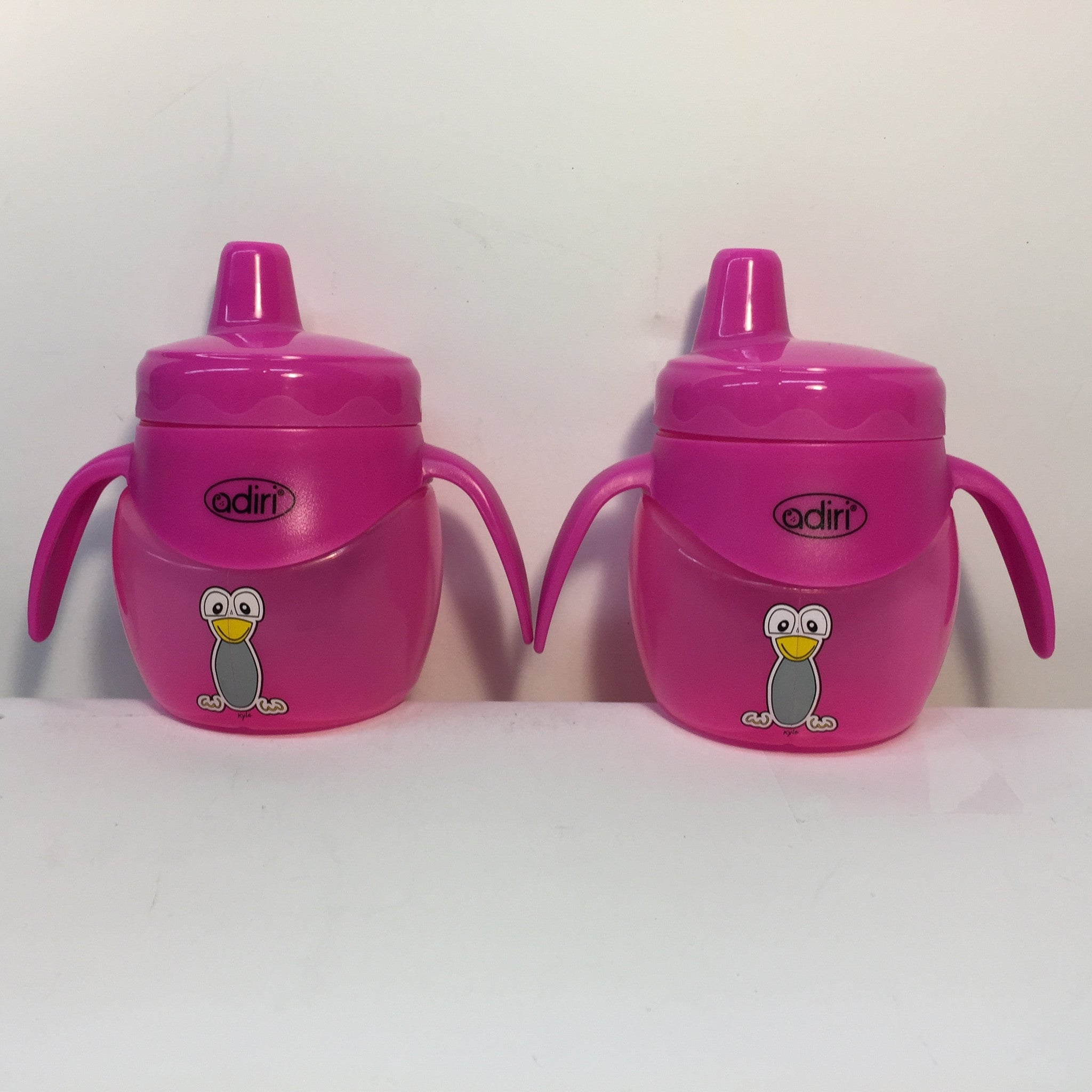 2 X Adiri Baby Trainer Sippy Bottle BPA Free 6.8 oz- Pink - LiquidationOutlet.ca