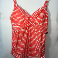 NEW, Ava & Viv Women's  Plus Size Twist Tankini Bikini Swimwear Top Coral/White - LiquidationOutlet.ca