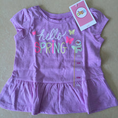 NEW, Circo Girls Purple Short Sleeve Dress HELLO SPRING Glitter Butterflies - LiquidationOutlet.ca