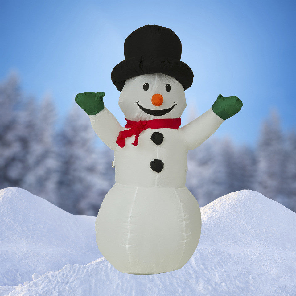 NEW, 4 FT Airblown Inflatable SnowMan Christmas Decoration with Inside Lights - LiquidationOutlet.ca