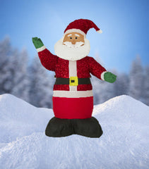 "NEW, 4 FT Airblown Inflatable ""Tinsel"" Santa Christmas Decoration with Inside LIghts - LiquidationOutlet.ca"