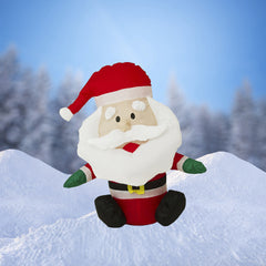 "NEW, 32"" Airblown Inflatable Santa with Large Beard Christmas Decoration w/ Inside Lights - LiquidationOutlet.ca"