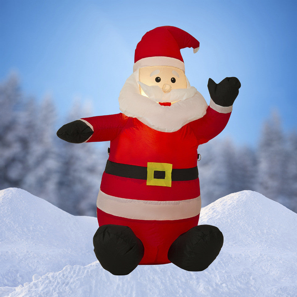 NEW,4 FT Airblown Inflatable Santa Claus Christmas Decoration with Inside Lights - LiquidationOutlet.ca