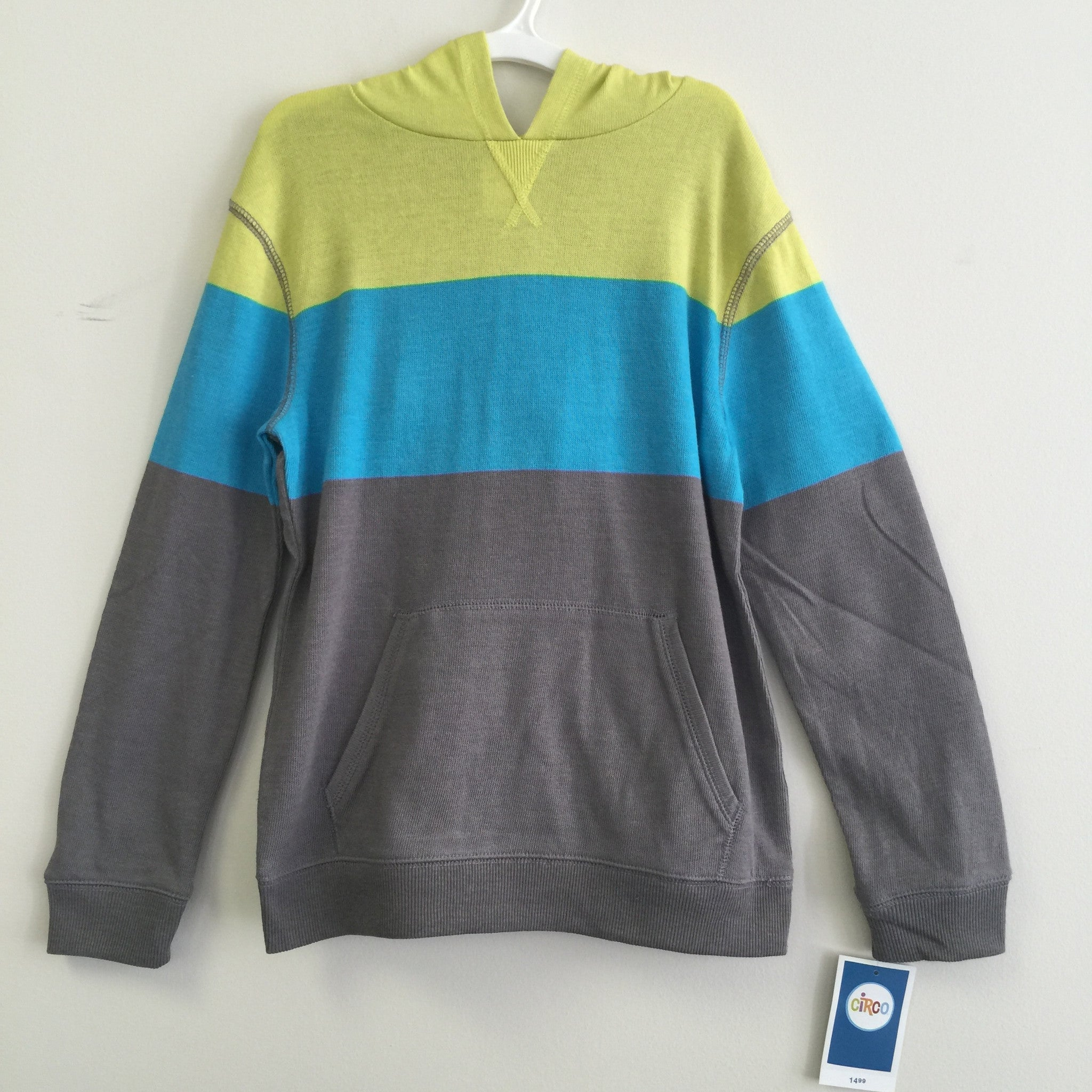 NEW, Circo Boy's Knit Color Block Hoodie Pullover Sweatshirt Yellow Green/Blue - LiquidationOutlet.ca