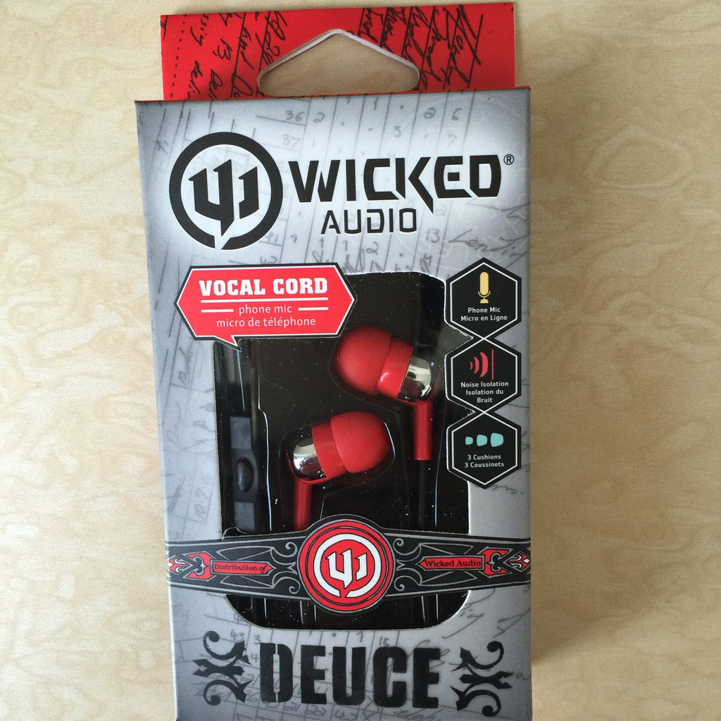 NEW, Genuine Wicked Audio Deuce Earbuds WI-1856 RED