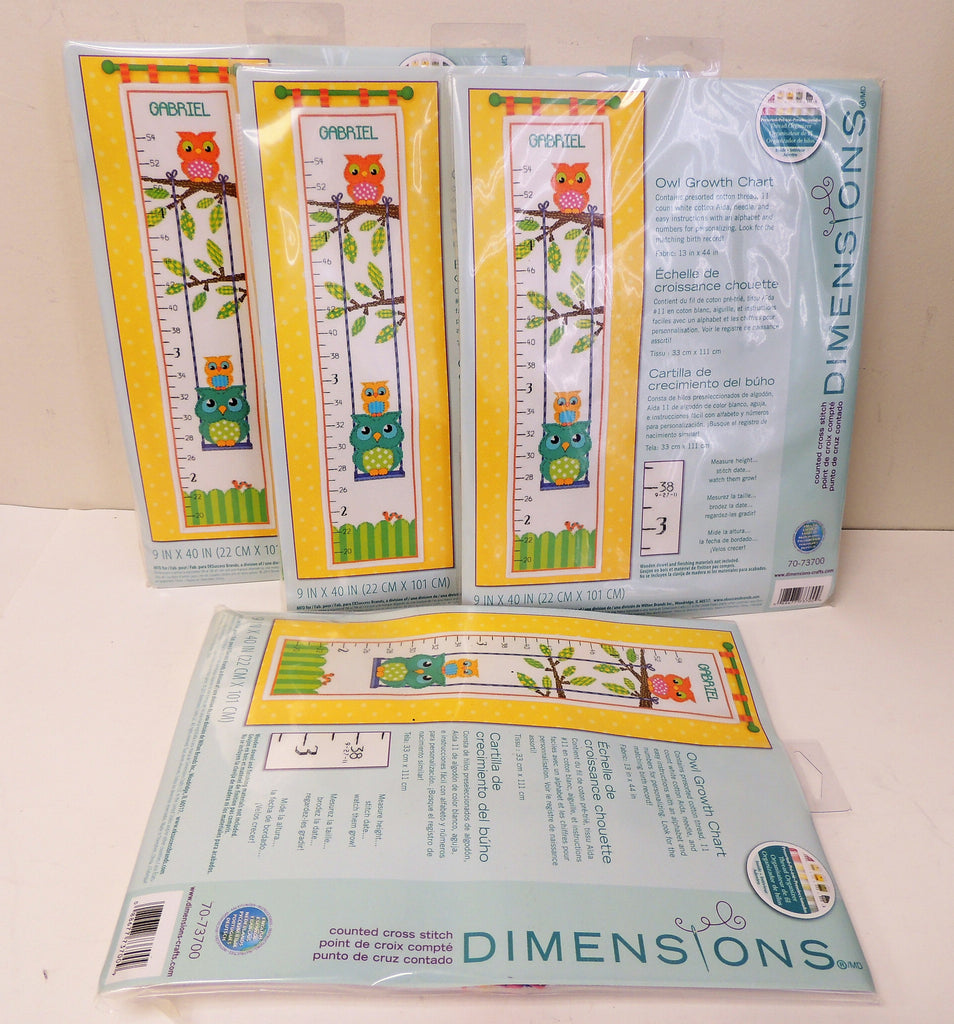 NEW, Dimensions Needlecrafts Counted Cross Stitch, Owl Growth Chart