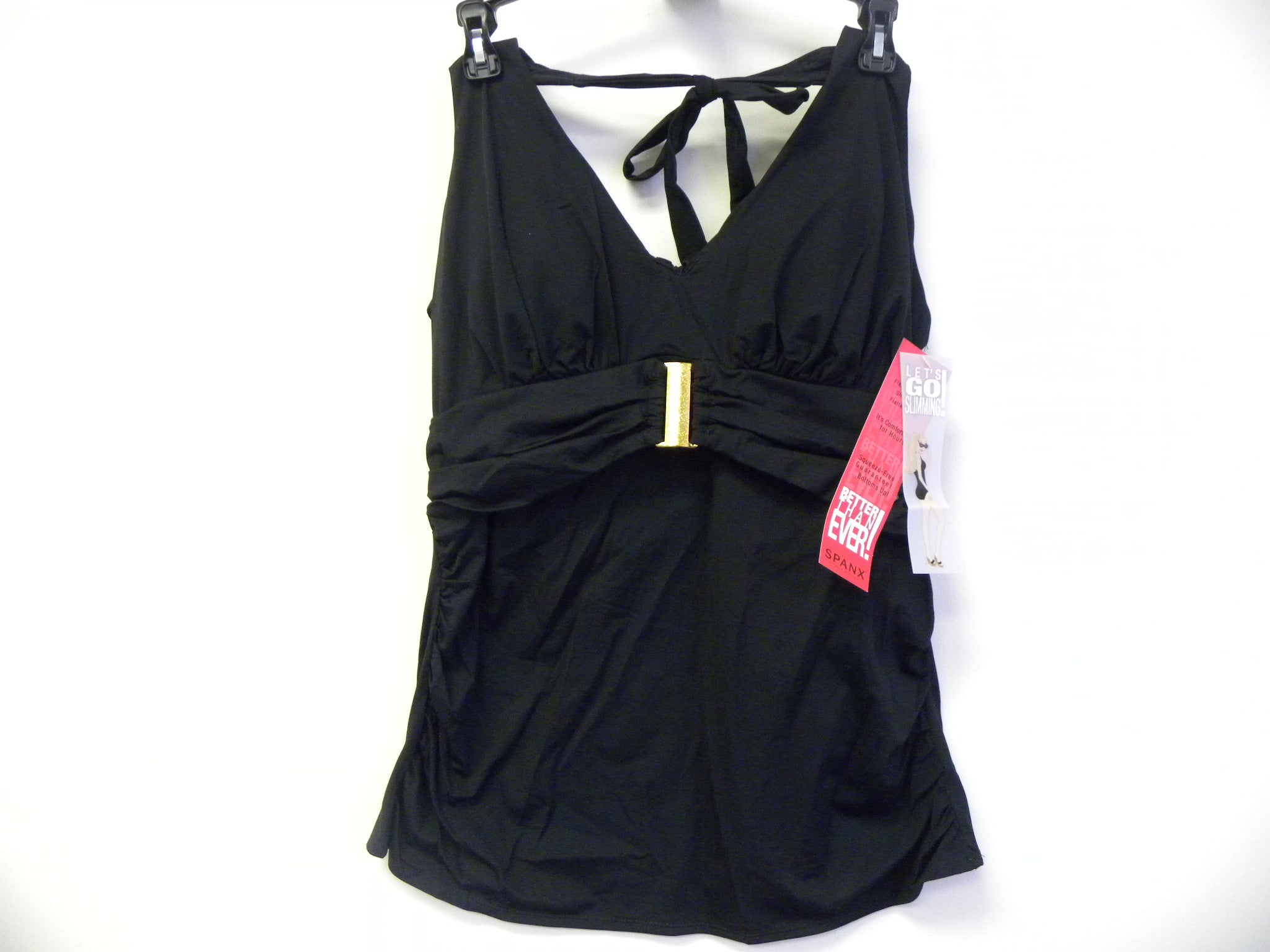 NEW, Authentic Spanx Belted Beauty Halter Tankini Swim Top (1398)- Black