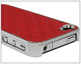 Deluxe Leather cover case for Apple Iphone 4 / 4S - Red - LiquidationOutlet.ca