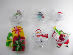 Holiday Memories Set of 6 Christmas Decoration with Suction Cup & the LED Lights