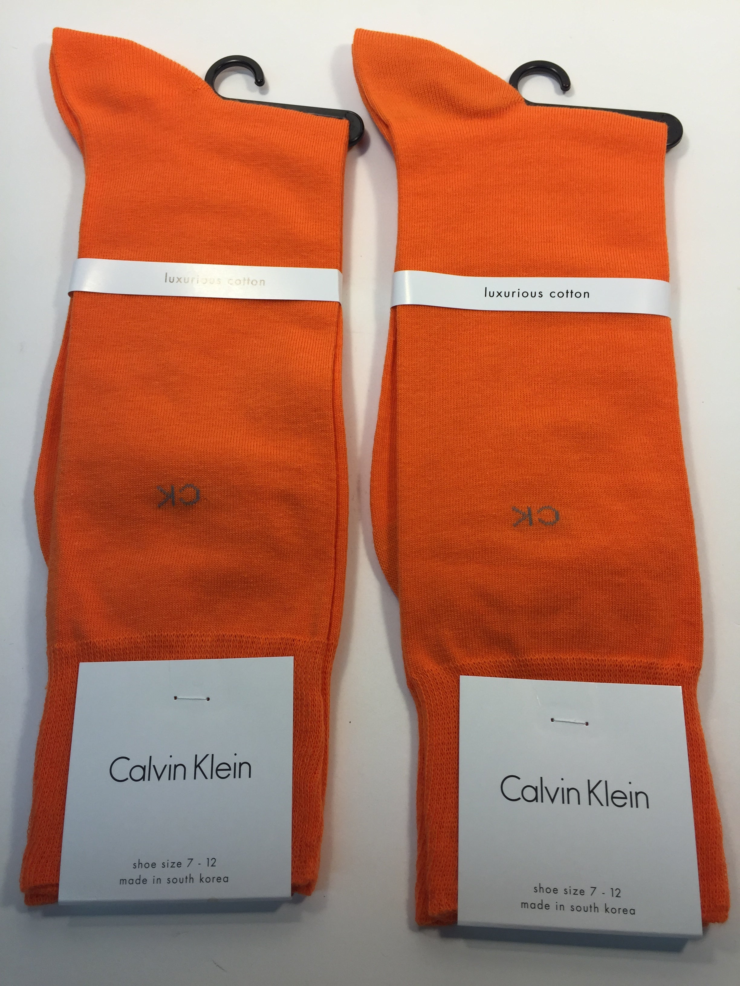 2 X Pair of Calvin Klein Socks-Shoe Size 7-12- GJ1 Orange Crush