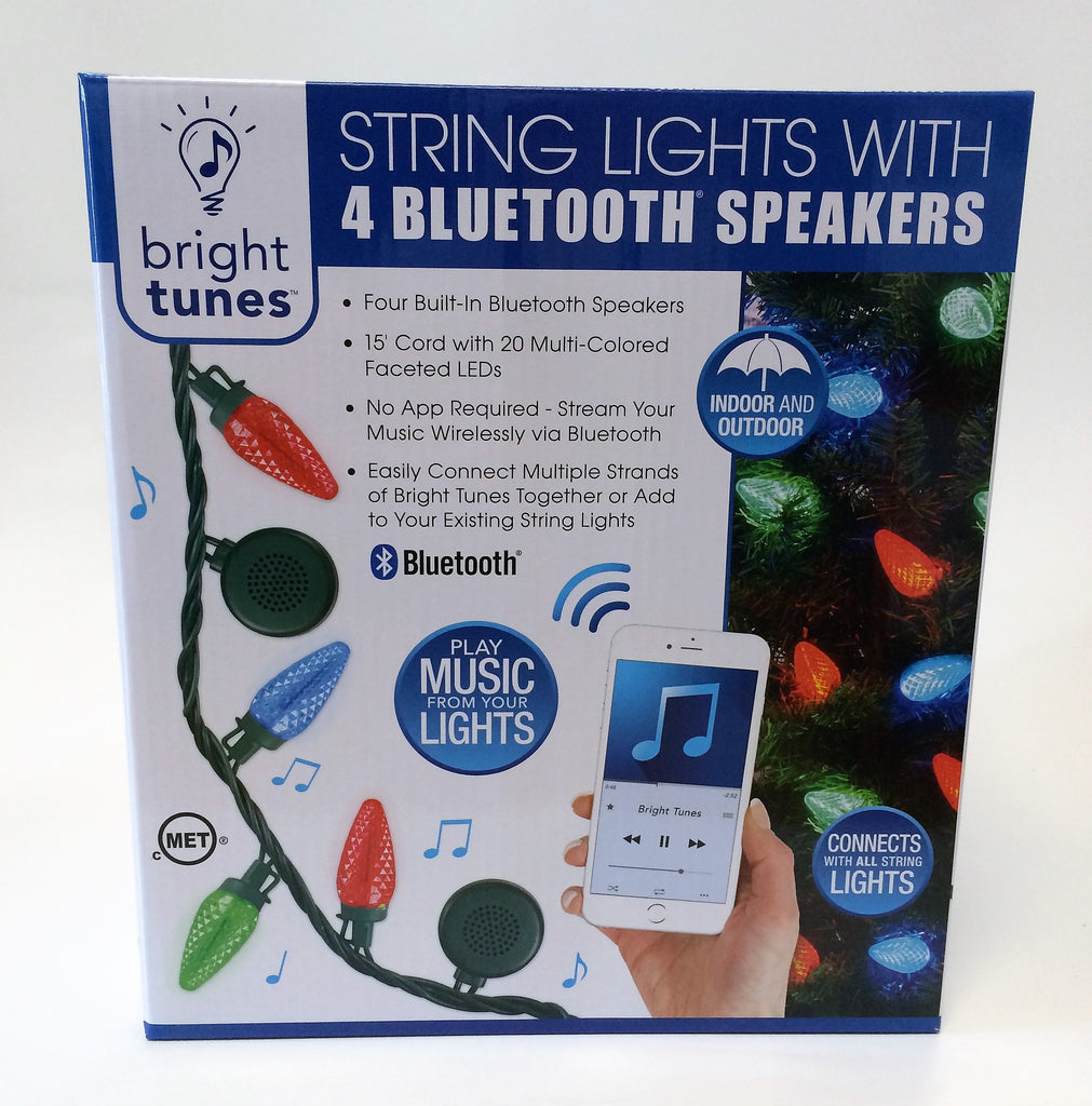 New, Bright Tunes 15 Ft String Lights With 4 Bluetooth Speakers Indoor/ Outdoor