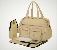 Brand new , OiOi Almond Faux Lizard Carry All Nappy / Diaper Bag (6580)