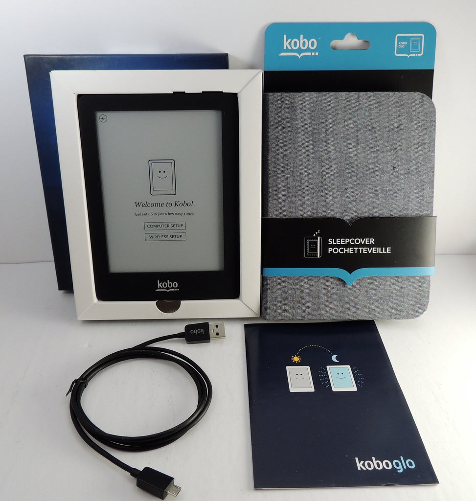 Kobo Glo Ereader E-book Wifi 6in 2 GB BUNDLE + CASE COVER (NEW OPEN)