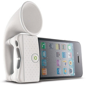 Horn Stand Amplifier Speaker for iPhone 4 - White