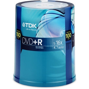 TDK 100-Pack 16X DVD+R in Spindle - LiquidationOutlet.ca