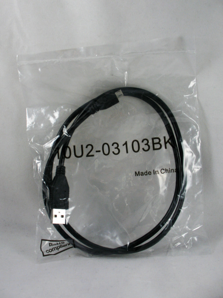 Micro USB 2.0 Cable, Black, Type A Male / Micro-B Male, 3 foot