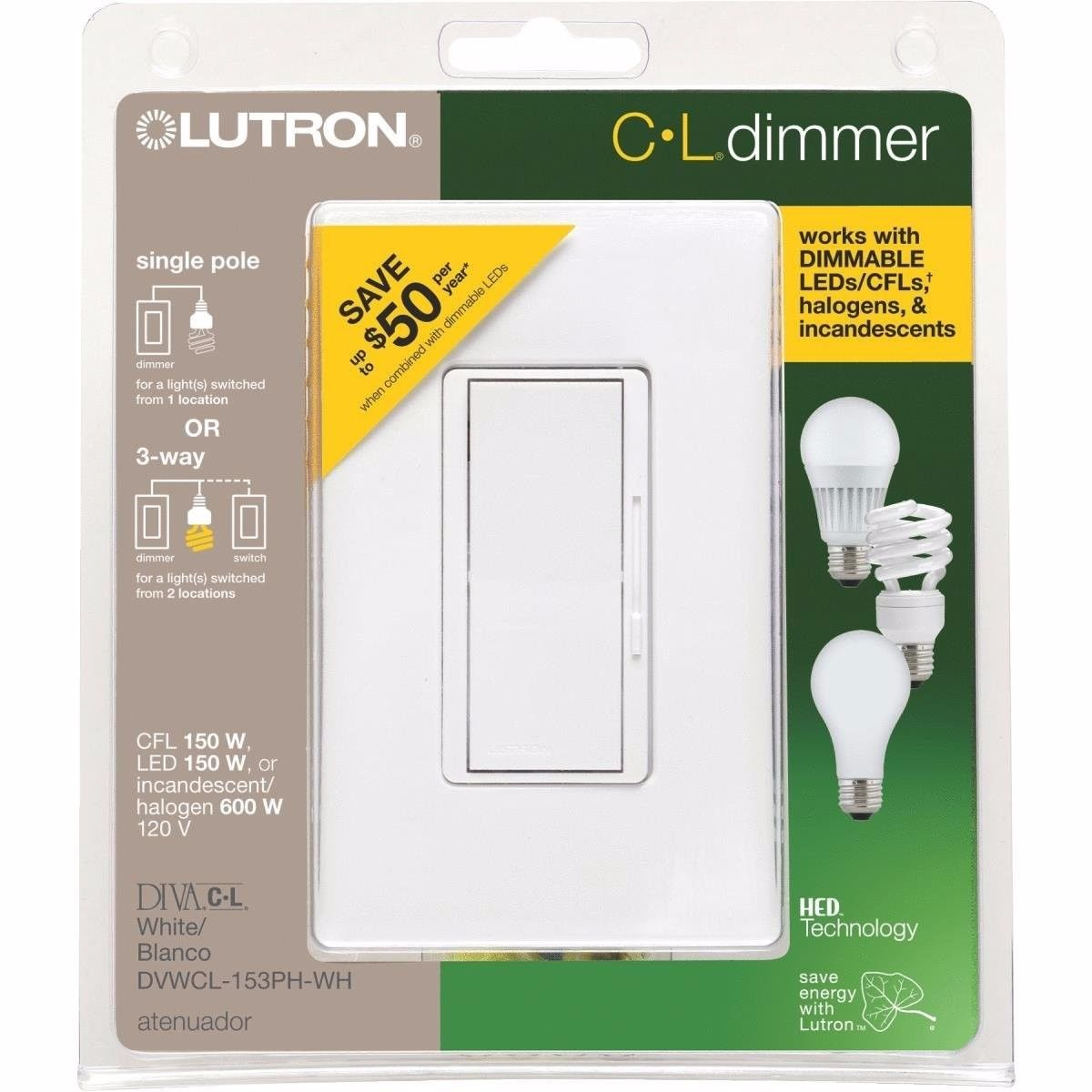 Lutron Diva Cl Dimmer For Dimmable Led Halogen And Incandescent 2 Pole 3 Way Slide Switch New Bulbs Single Or Open Box