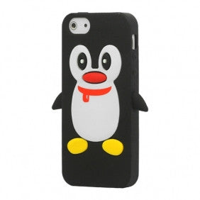 Penguin Silicone Soft Case Cover Skin For Apple iPhone 4 & 4S - Black - LiquidationOutlet.ca