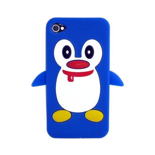 Penguin Silicone Soft Case Cover Skin For Apple iPhone 4 & 4S - Blue - LiquidationOutlet.ca