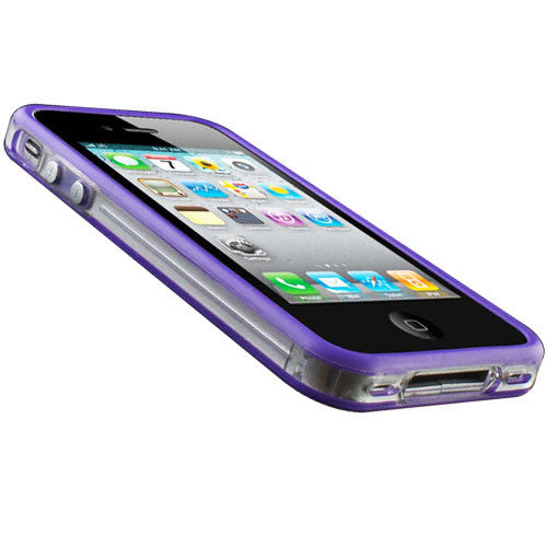 Bumper Case Cover + Metal Buttons For Apple iPhone 4 / 4S Purple - LiquidationOutlet.ca