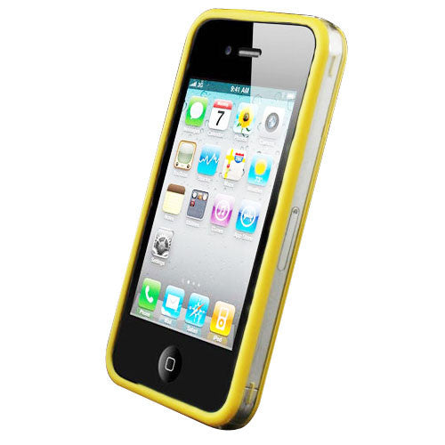 Bumper Case Cover + Metal Buttons For Apple iPhone 4 / 4S Yellow - LiquidationOutlet.ca