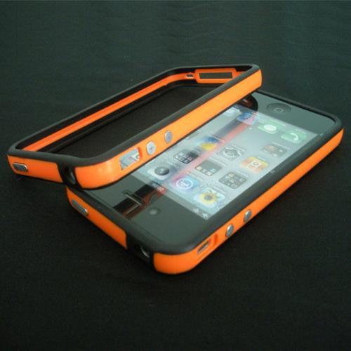 Bumper Case Cover + Metal Buttons For Apple iPhone 4 / 4S Orange - LiquidationOutlet.ca