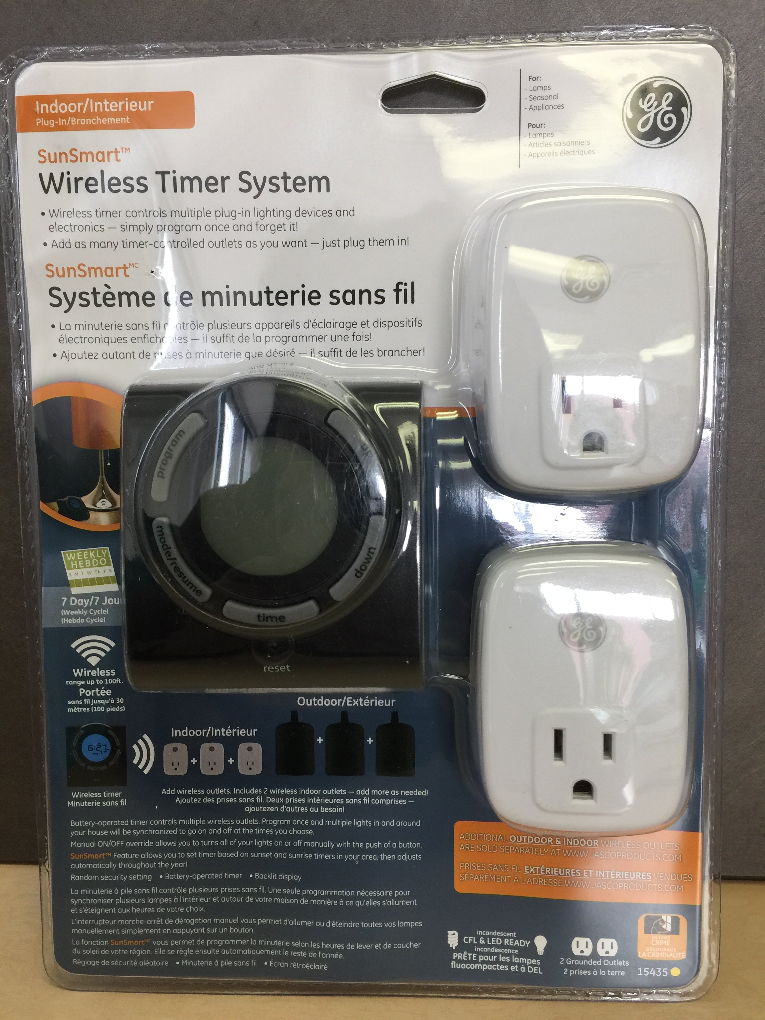 GE SunSmart 15 Amp 7-Day Programmable Wireless Timer System with Single-Outlet