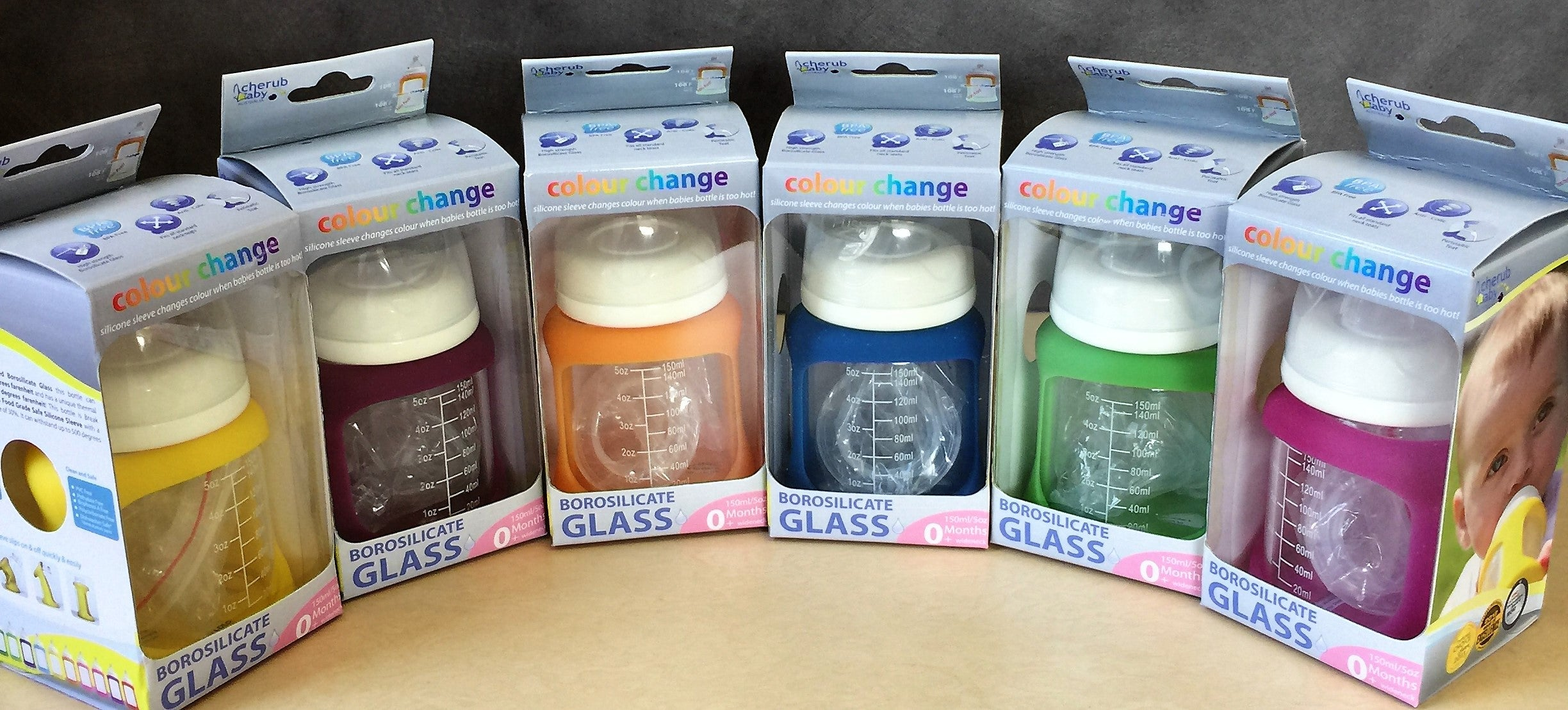New, Cherub Baby Glass Baby Bottle Wide Neck (150ml) BPA Free Assorted Colors