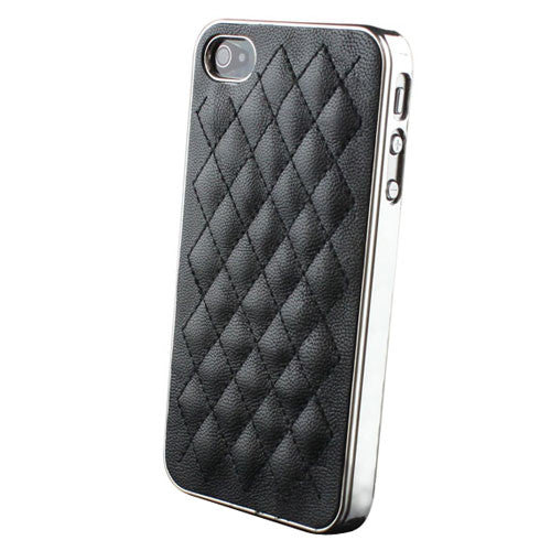 Deluxe Leather cover case for Apple Iphone 4 / 4S - Black - LiquidationOutlet.ca