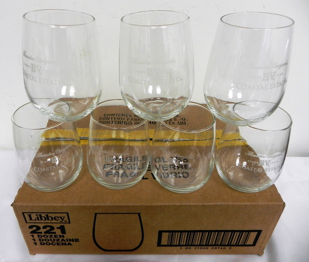 New, Libbey 221 Stemless 17 Ounce White Wine Glass - 12 / Case
