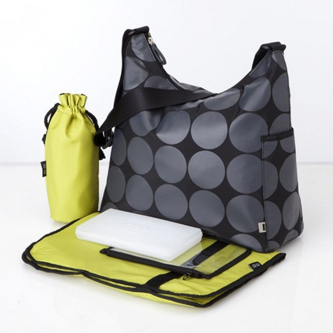 Brand New, OiOi Grey Dot Hobo with Green Lining Nappy / Diaper Baby Bag (6059)