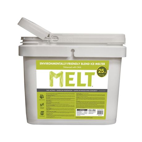 New, MELT 25 Lb. Bucket Premium Environmentally-Friendly Blend Ice Melter w/ CMA *Pick Up Only - B