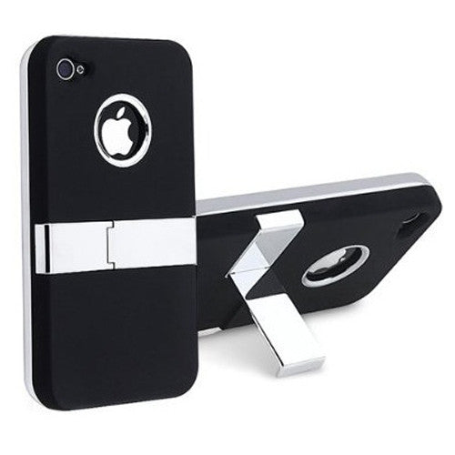 Deluxe Case with chrome Stand for Iphone 4 / 4S - Black - LiquidationOutlet.ca