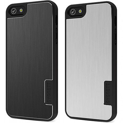 Cygnett iPhone 5 UrbanShield Hard Metal Aluminium Case Cover, Silver Black