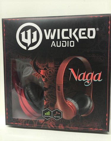 Wicked Audio Naga High Fidelity Stereo Headphones- WI-402 RED