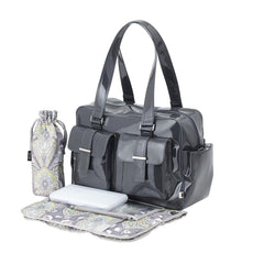 New, OiOi Gunmetal Patent Carryall / Baroque Paisley Lining Diaper Bag (6606)