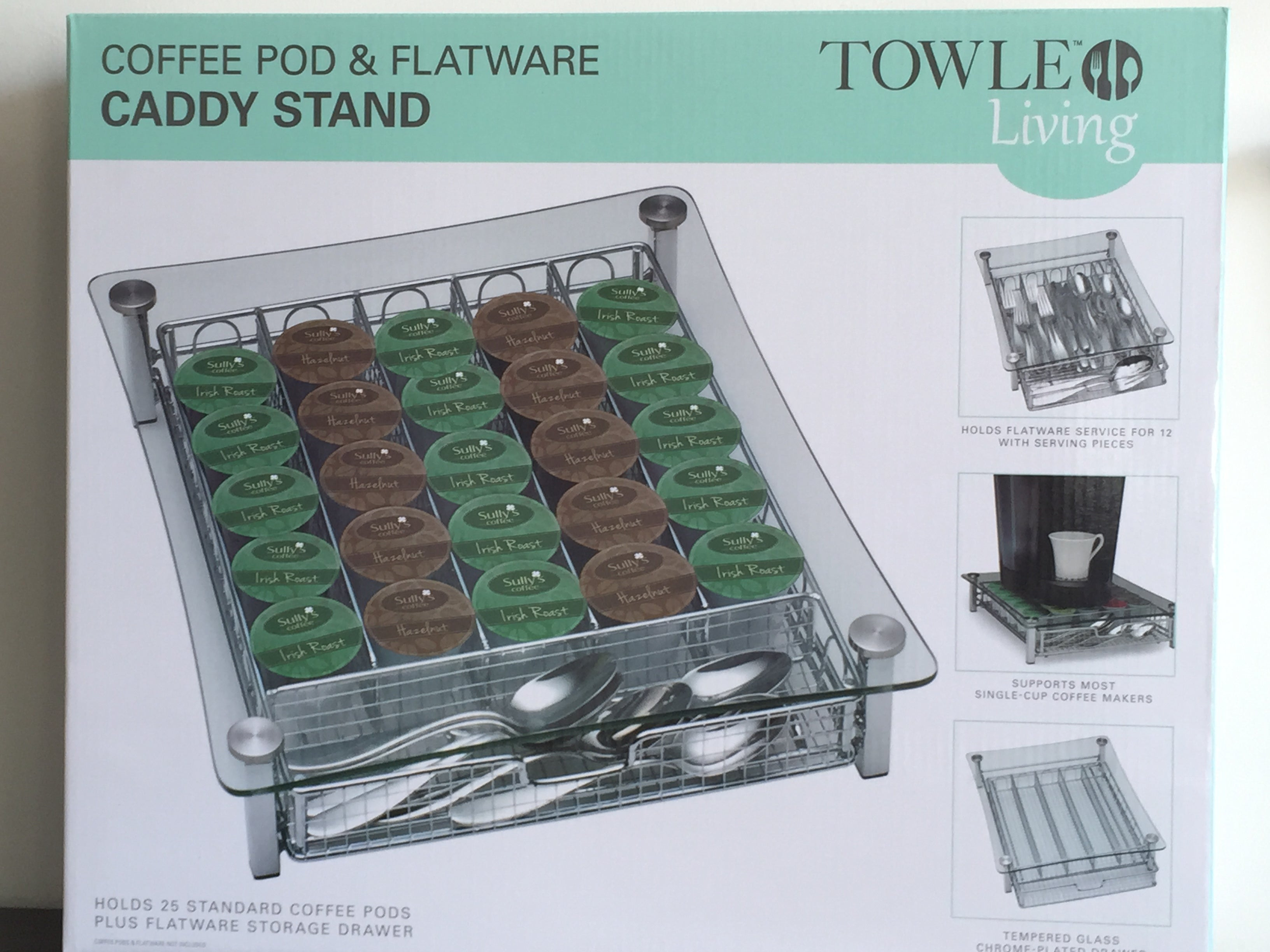 Lot of 40 PCS New Towle Living Coffee Pod and Flatware Caddy Stand
