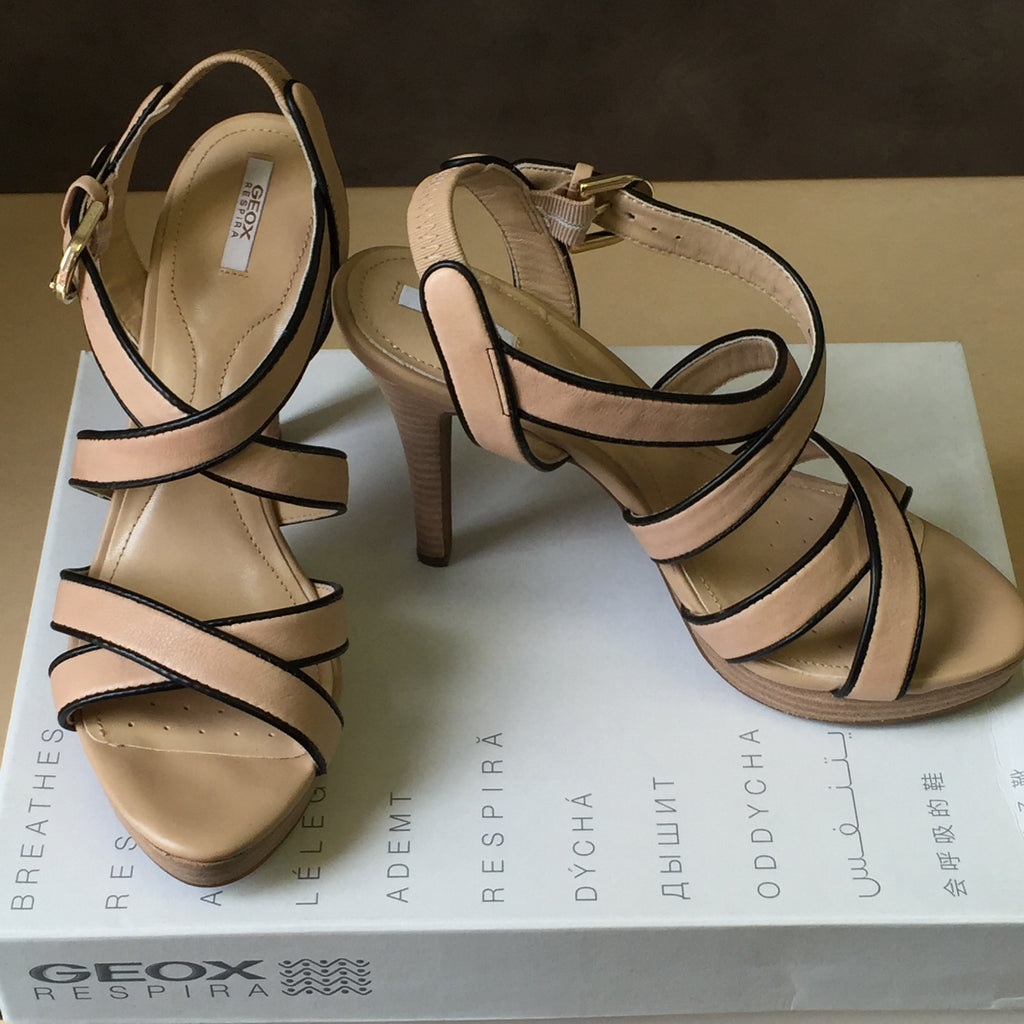 NEW, Genuine Geox D IVANA SAND C Damen High-Heel Open Toe Heel Strappy Shoes