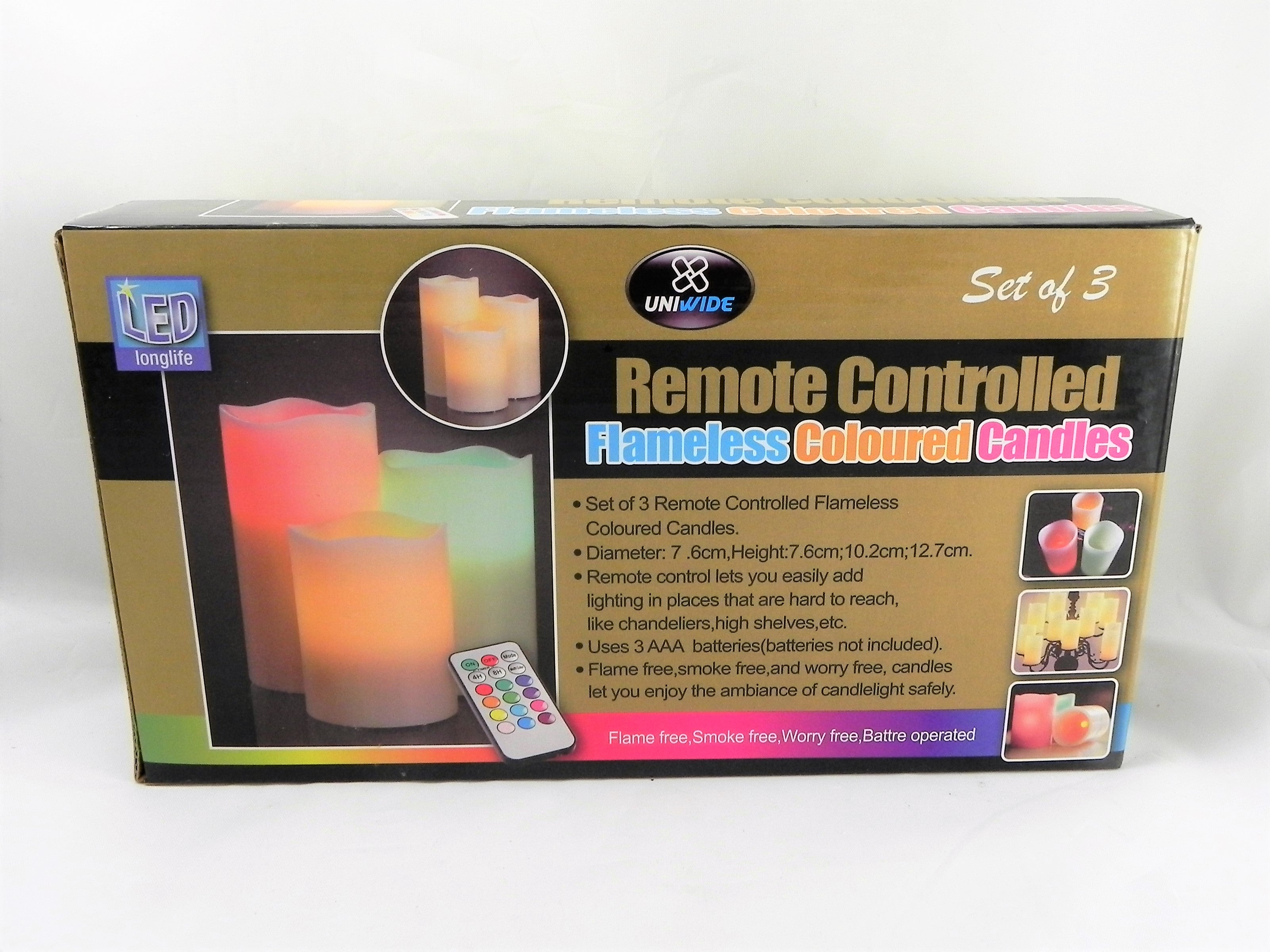 3pc Multi Color Remote Control Flameless Candle Set
