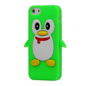 Penguin Silicone Soft Case Cover Skin For Apple iPhone 4 & 4S - Green - LiquidationOutlet.ca
