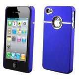 Hard Back Cover Case Skin With Chrome For iPhone 4 - Blue - LiquidationOutlet.ca