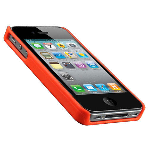 Hard Back Cover Case Skin With Chrome For iPhone 4 - Orange - LiquidationOutlet.ca